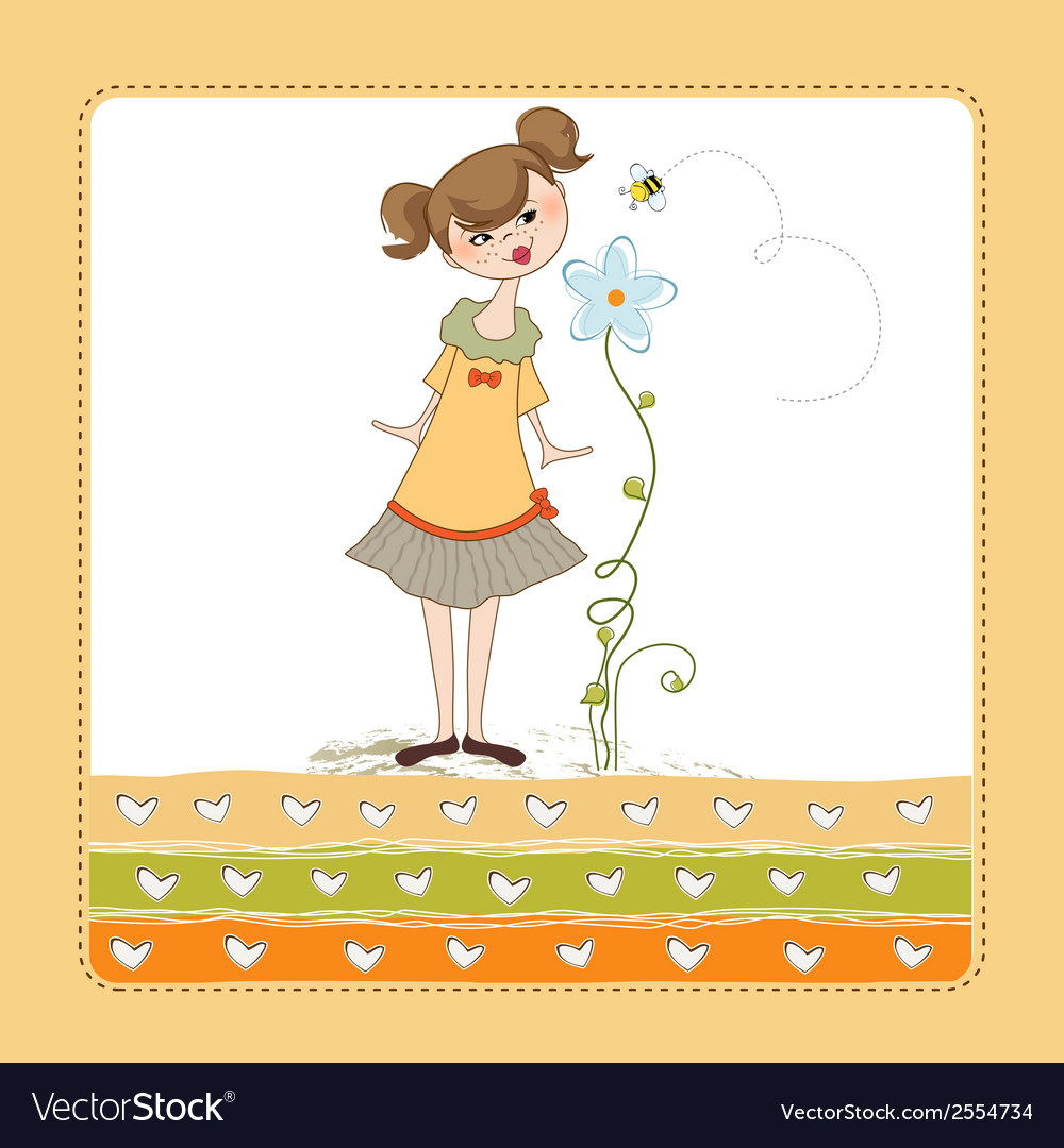 Small young lady who smells a flower vector | Price: 1 Credit (USD $1)