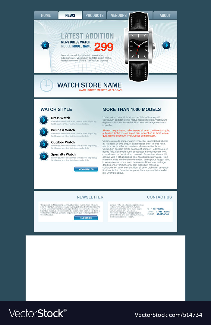 Watch store web template vector | Price: 5 Credit (USD $5)