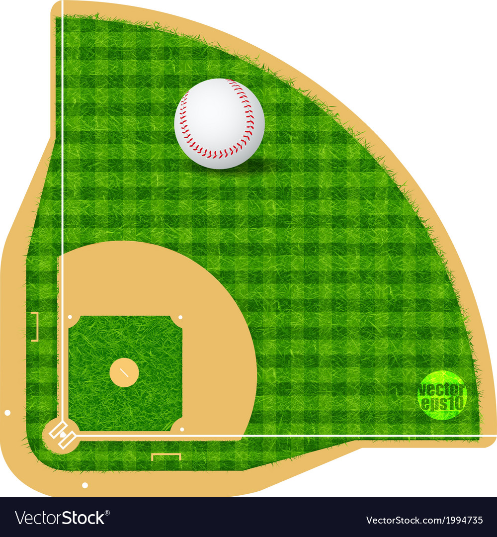Baseball field field with real grass textured vector | Price: 1 Credit (USD $1)