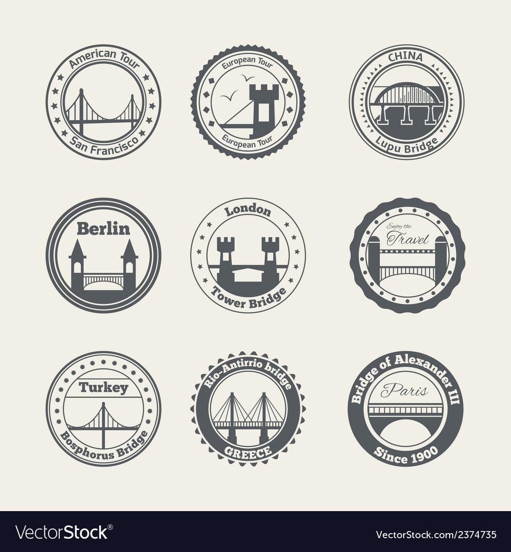 Bridge label set vector | Price: 1 Credit (USD $1)