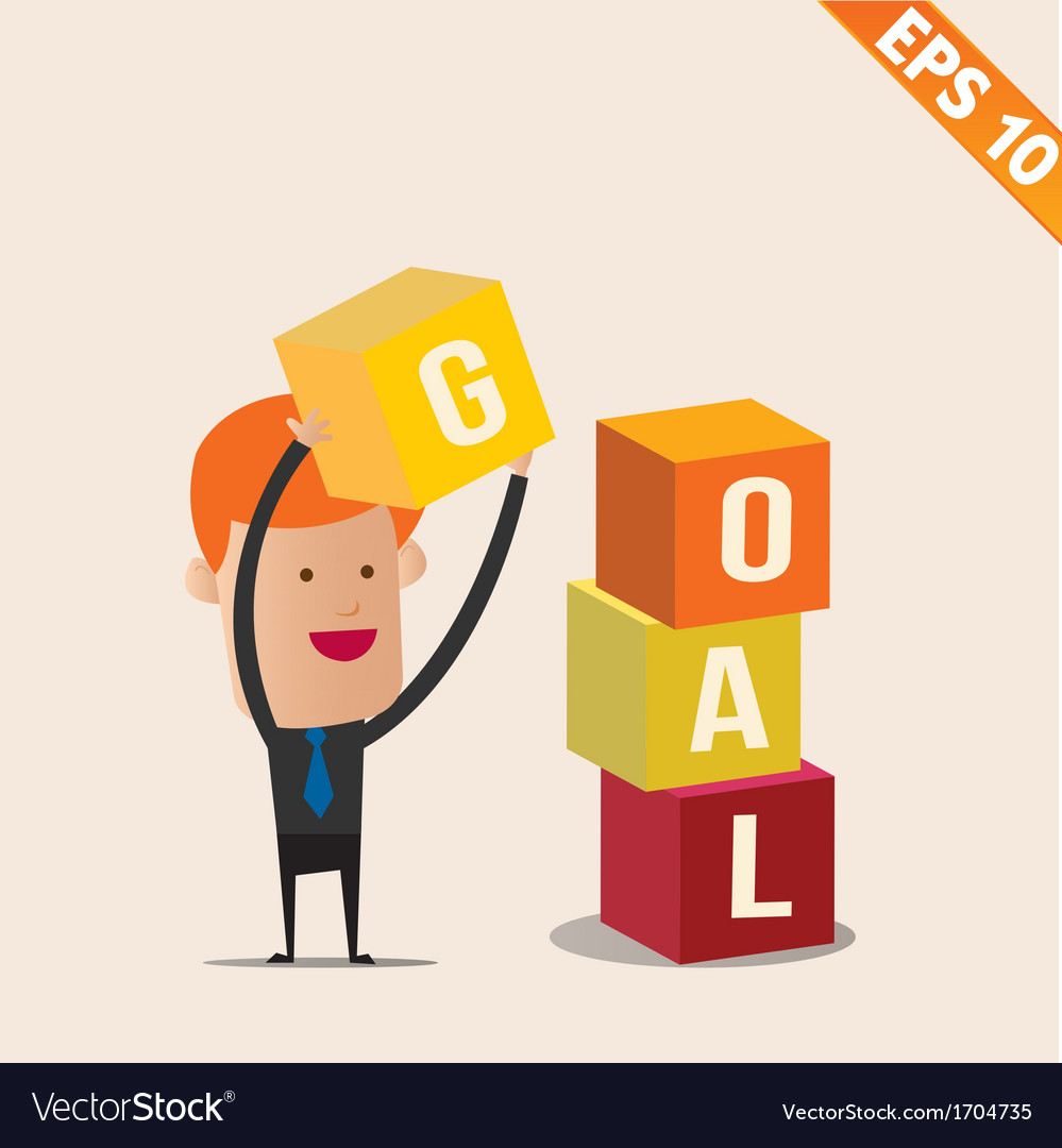 Cartoon businessman stacking goal box - - ep vector | Price: 1 Credit (USD $1)