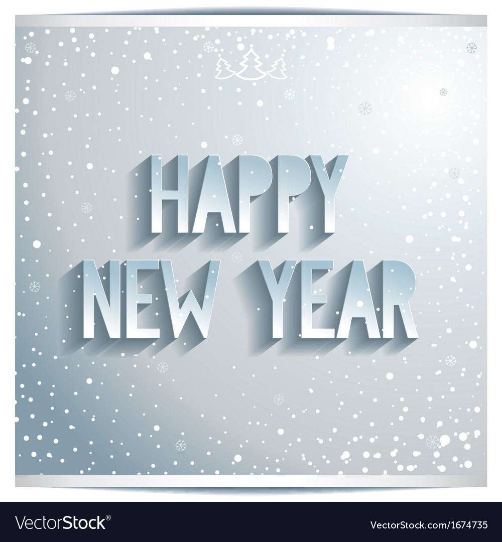 Happy new year white lettering on grey background vector | Price: 1 Credit (USD $1)