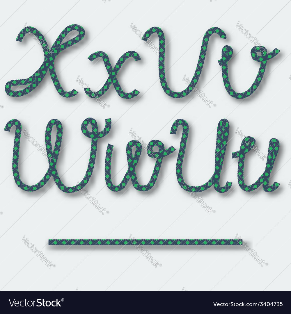 Letters u v w x - handwritten alphabet of rope vector | Price: 1 Credit (USD $1)