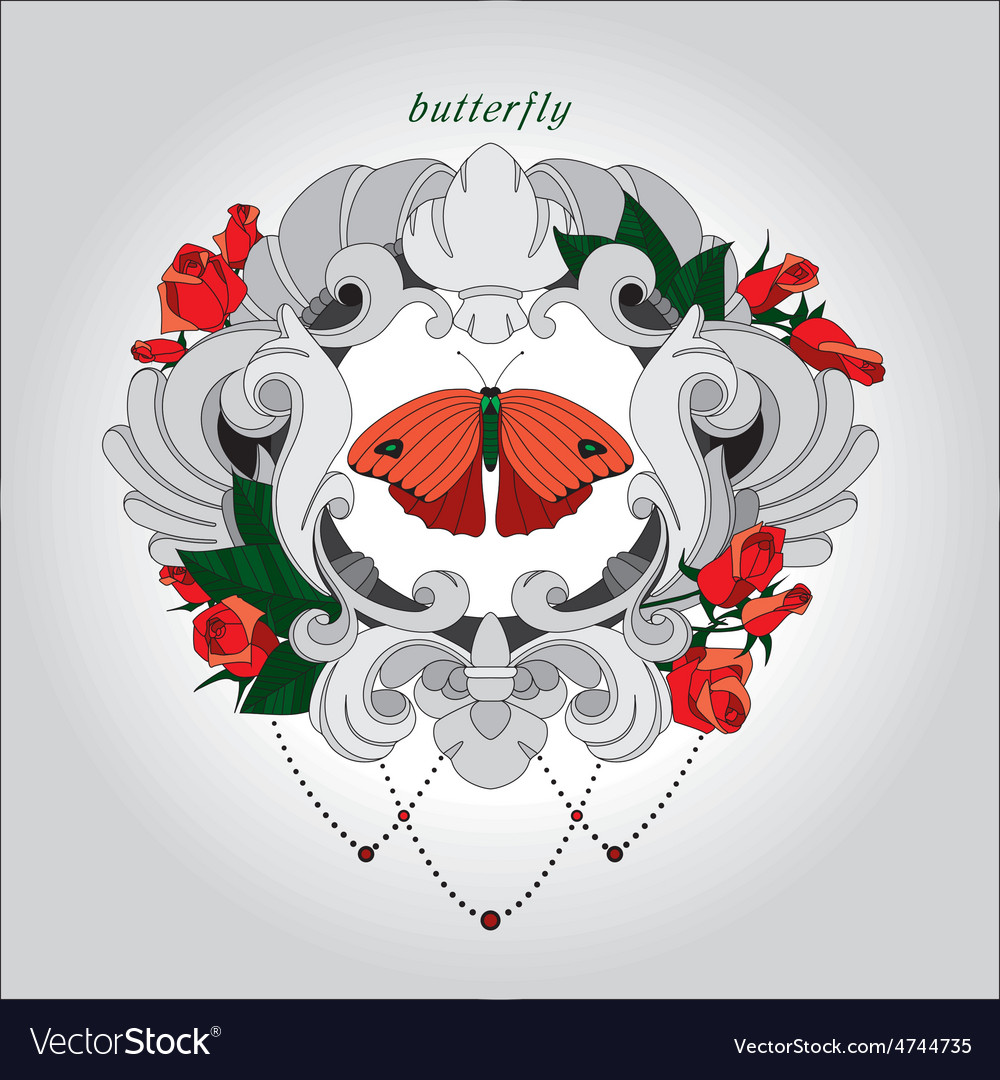 Red butterfly with flowers vector | Price: 1 Credit (USD $1)