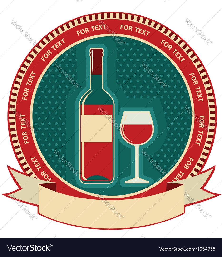 Red wine bottle label symbol background vector | Price: 1 Credit (USD $1)