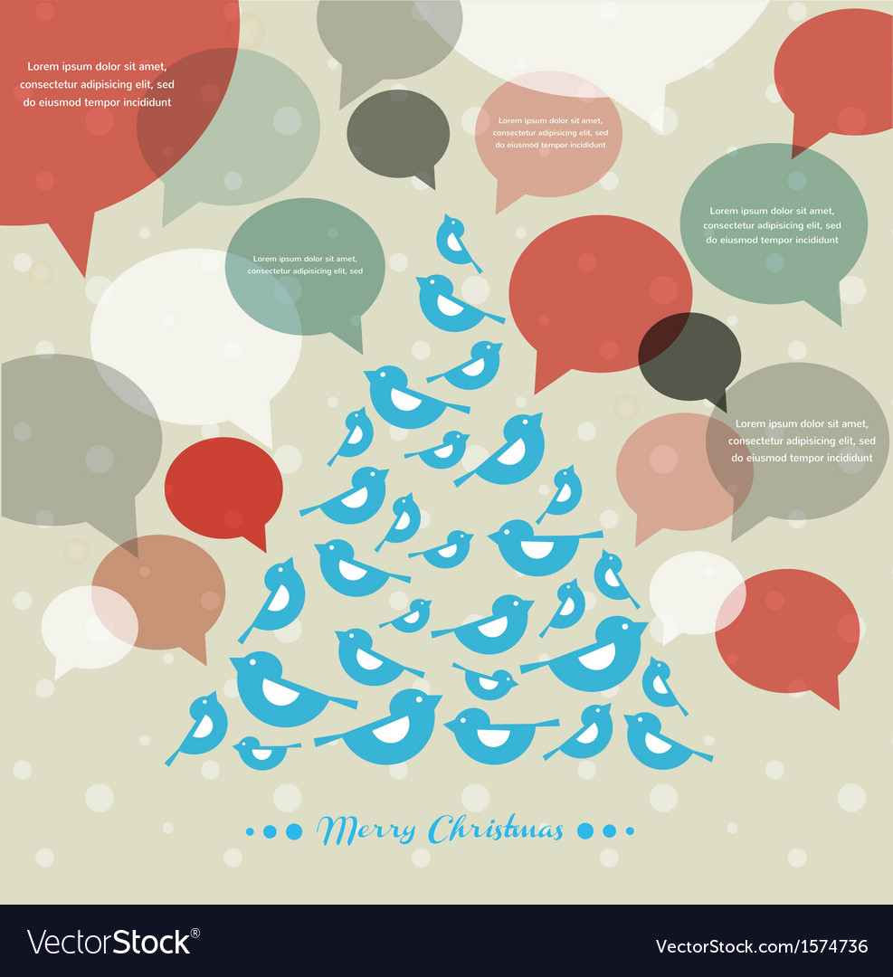 Abstract christmas tree with speech bubbles vector | Price: 1 Credit (USD $1)
