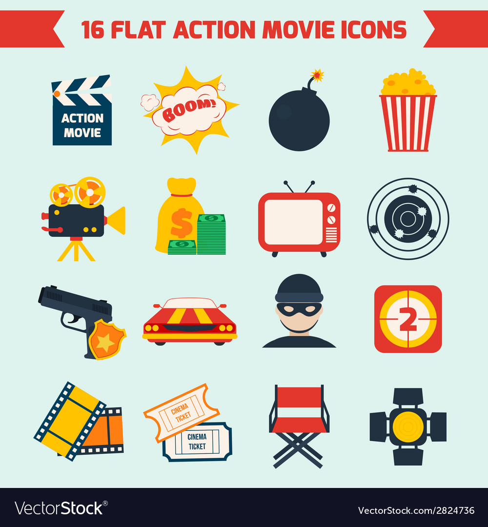 Action movie set vector | Price: 1 Credit (USD $1)