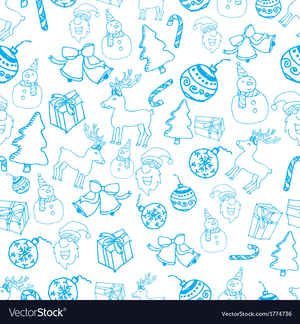 Blue seamless christmas pattern vector | Price: 1 Credit (USD $1)