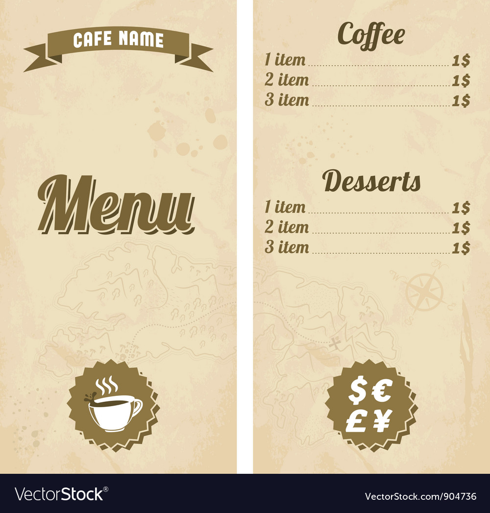 Cafe menu design with treasure map vector | Price: 1 Credit (USD $1)