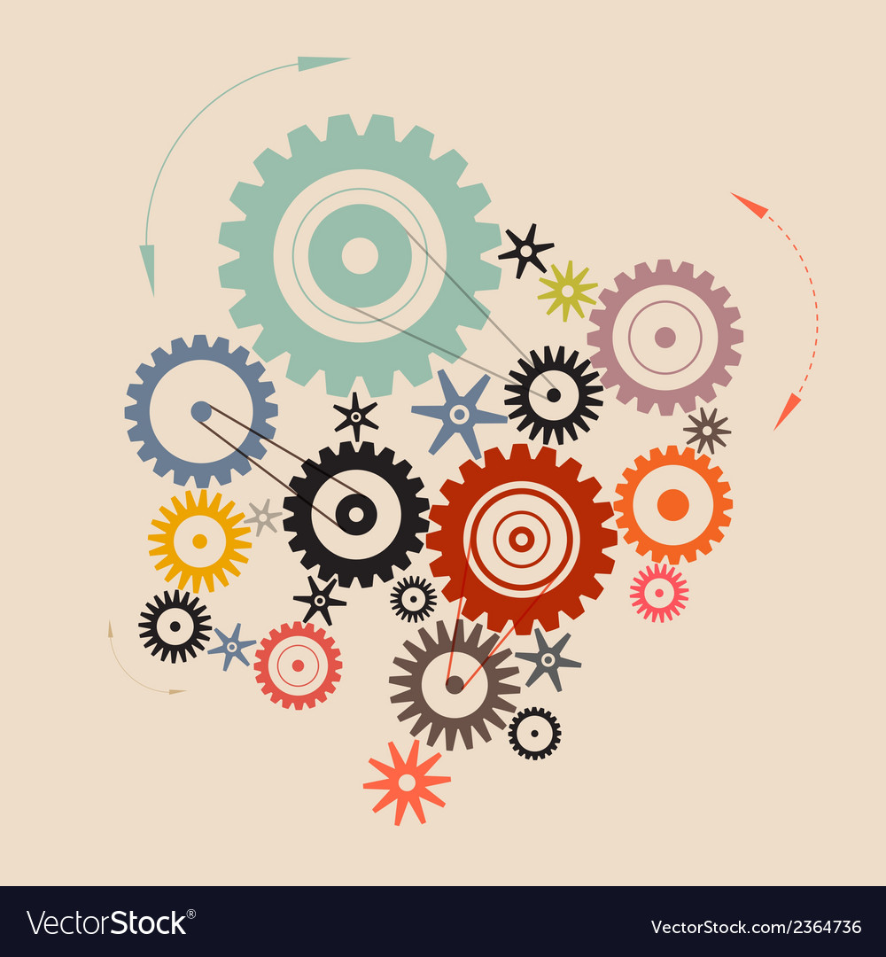 Cogs - gears in retro style vector | Price: 1 Credit (USD $1)