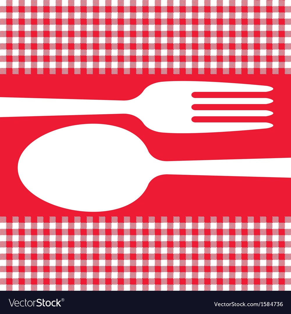 Cutlery on red tablecloth vector | Price: 1 Credit (USD $1)
