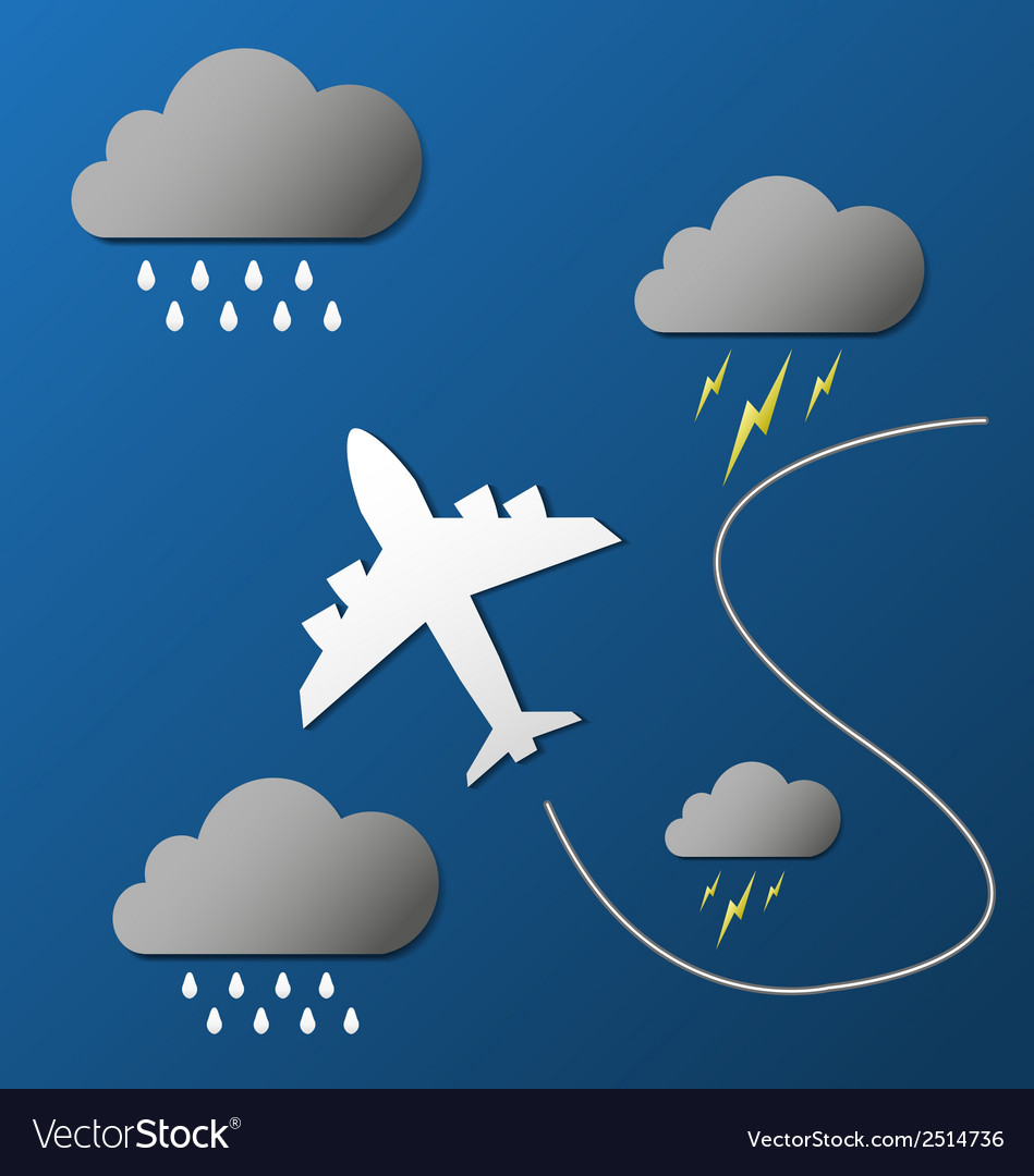 Flying plane in clouds vector | Price: 1 Credit (USD $1)
