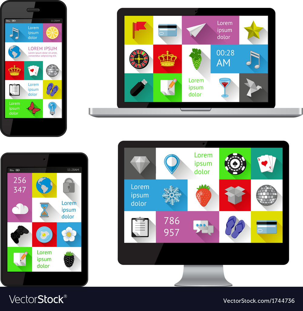 Isolated gadgets with infographics vector   Price: 1 Credit (USD $1)