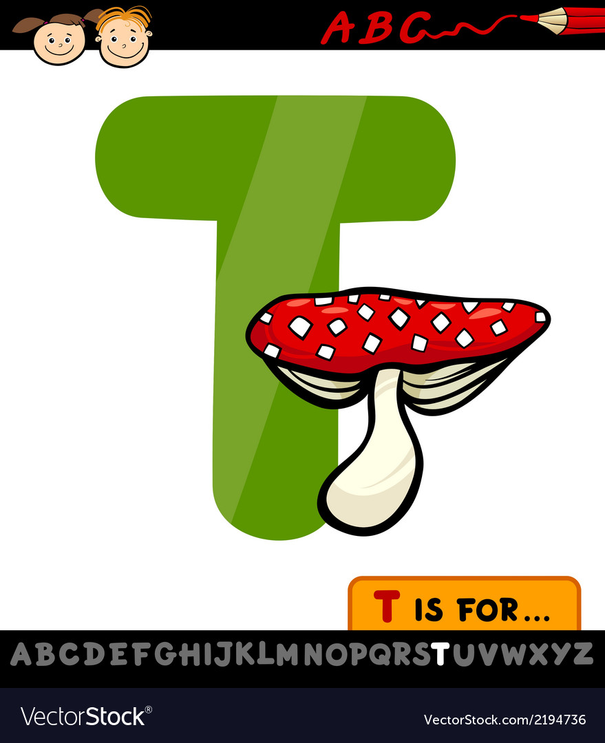 Letter t with toadstool cartoon vector | Price: 1 Credit (USD $1)