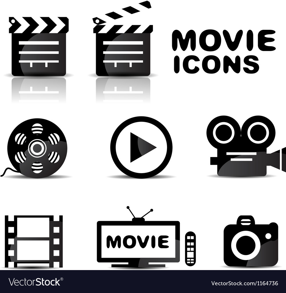 Movie black glossy icon set vector