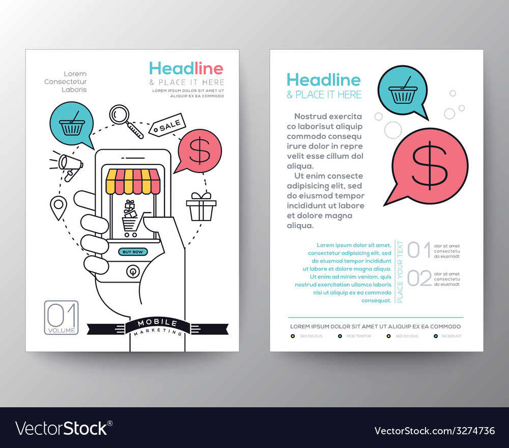 Online shopping brochure flyer layout template vector | Price: 1 Credit (USD $1)