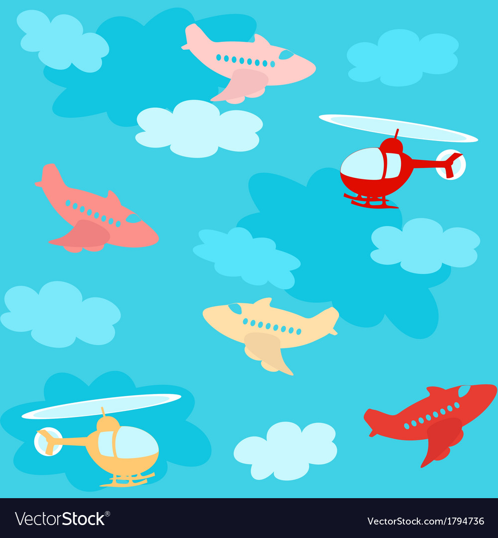 Seamless pattern with airplanes and clouds vector | Price: 1 Credit (USD $1)