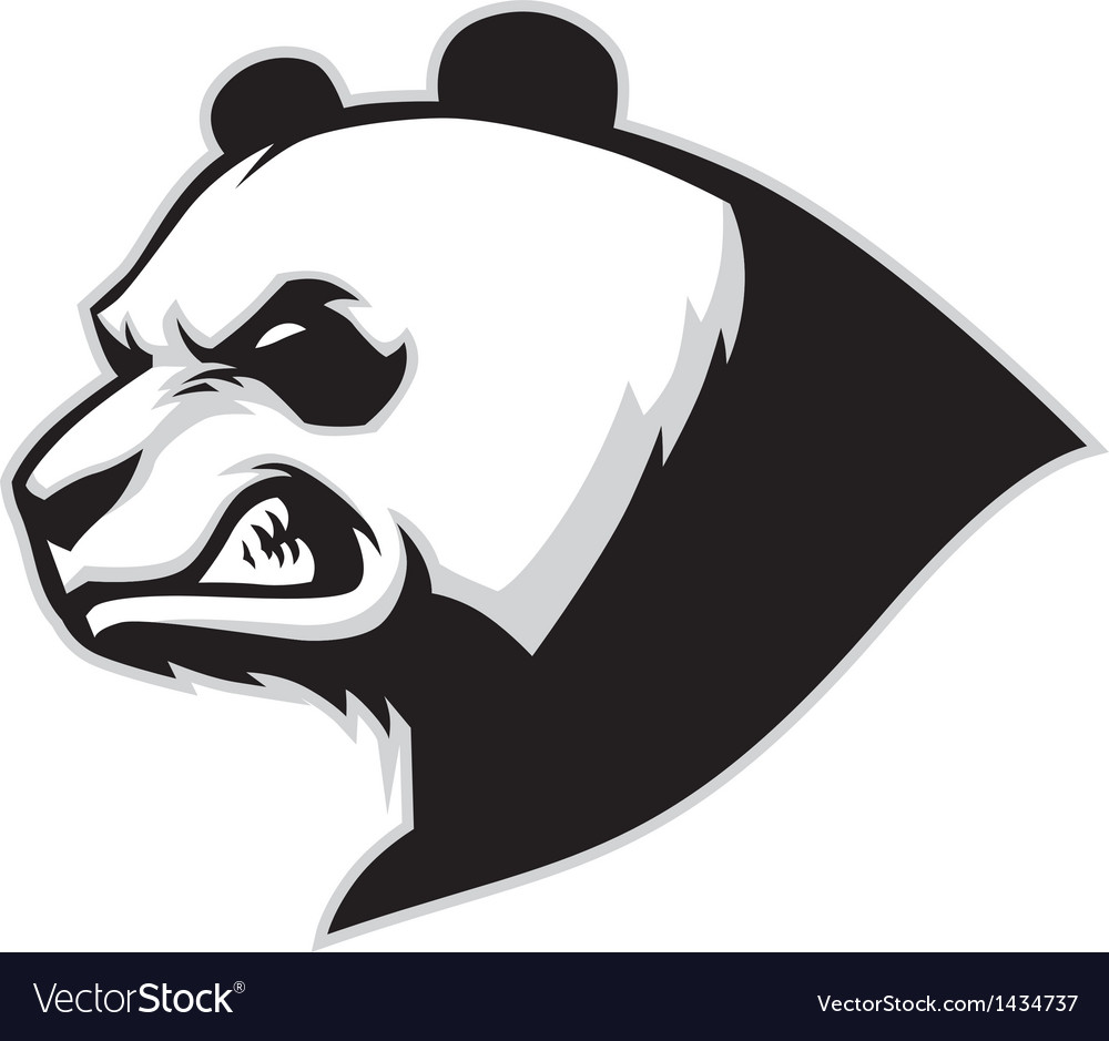 Angry panda head mascot vector | Price: 1 Credit (USD $1)