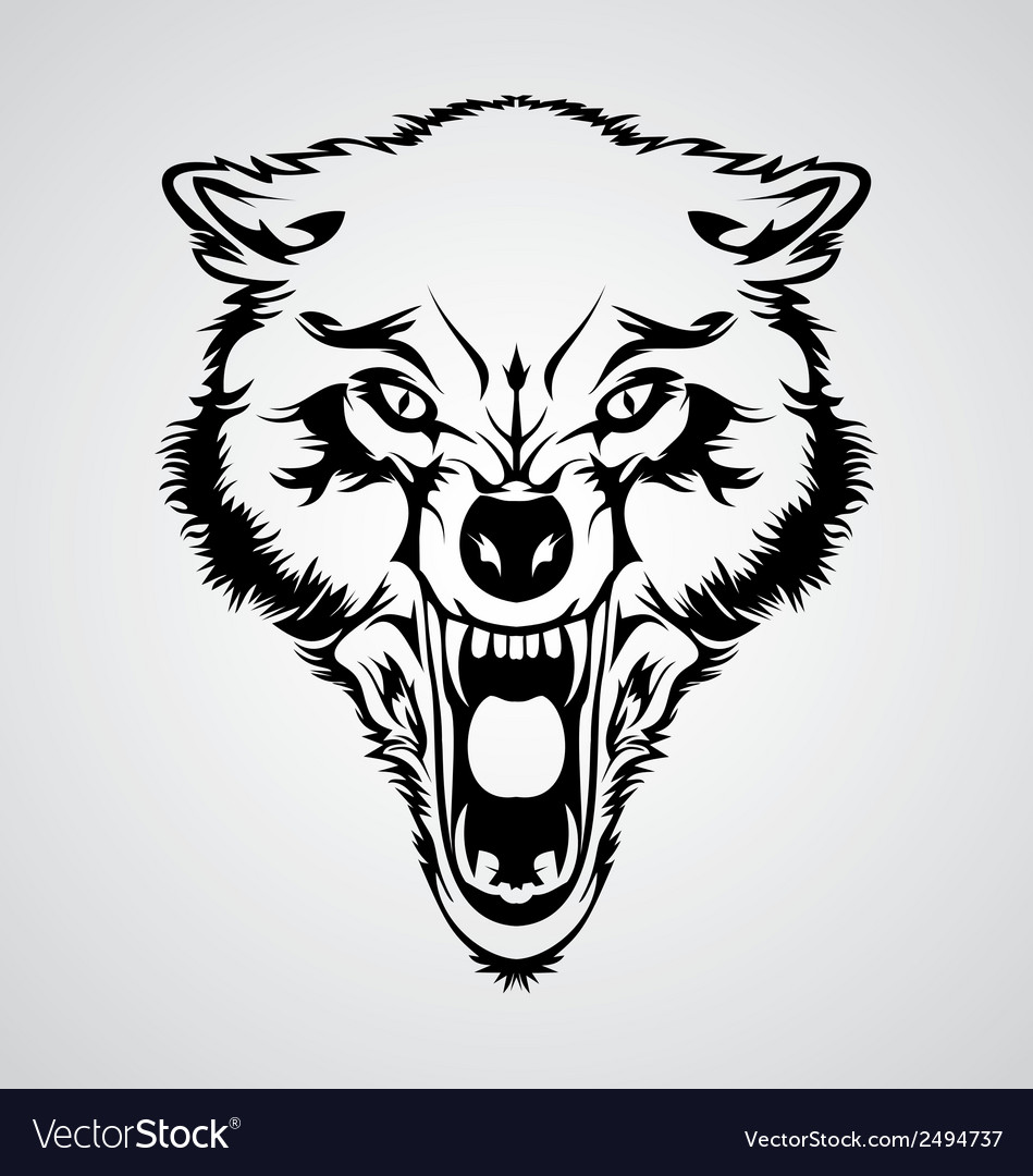Angry wolf head vector | Price: 1 Credit (USD $1)