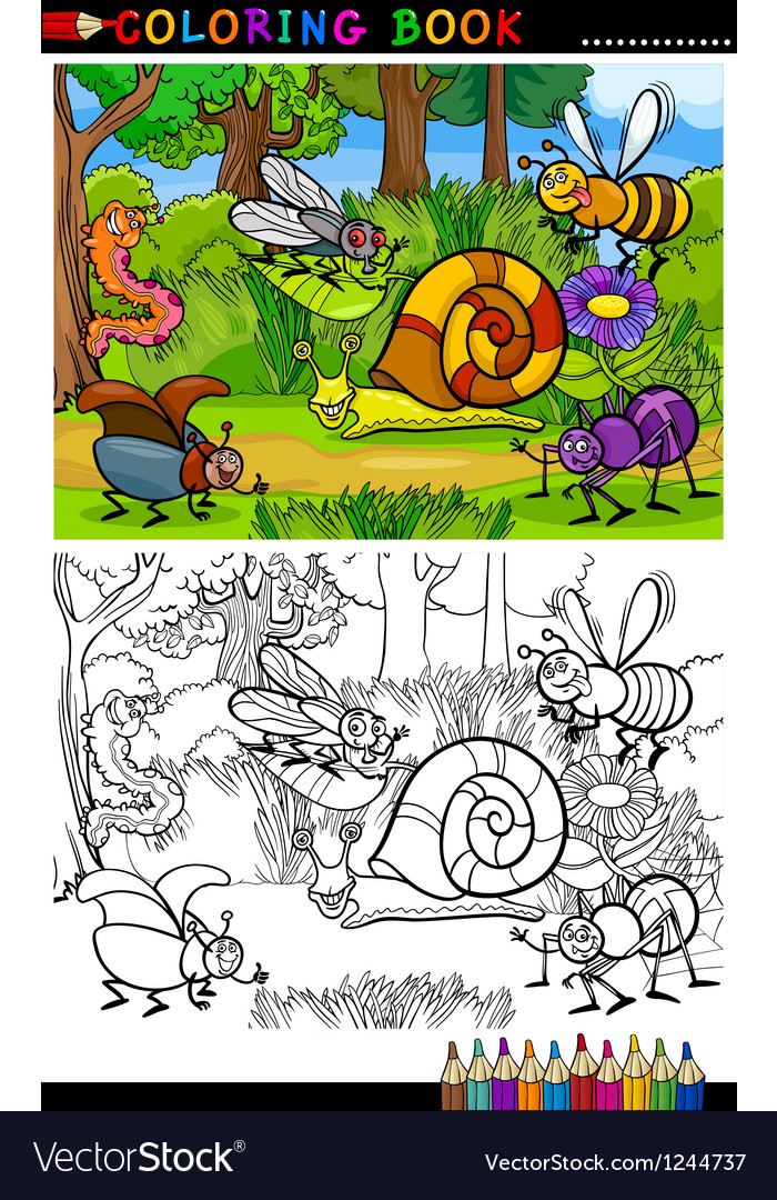 Cartoon insects or bugs for coloring book vector | Price: 1 Credit (USD $1)