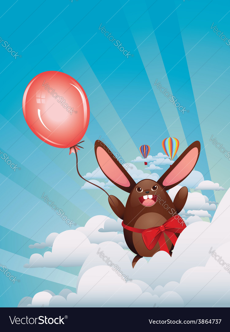 Chocolate bunny with balloon3 vector | Price: 1 Credit (USD $1)