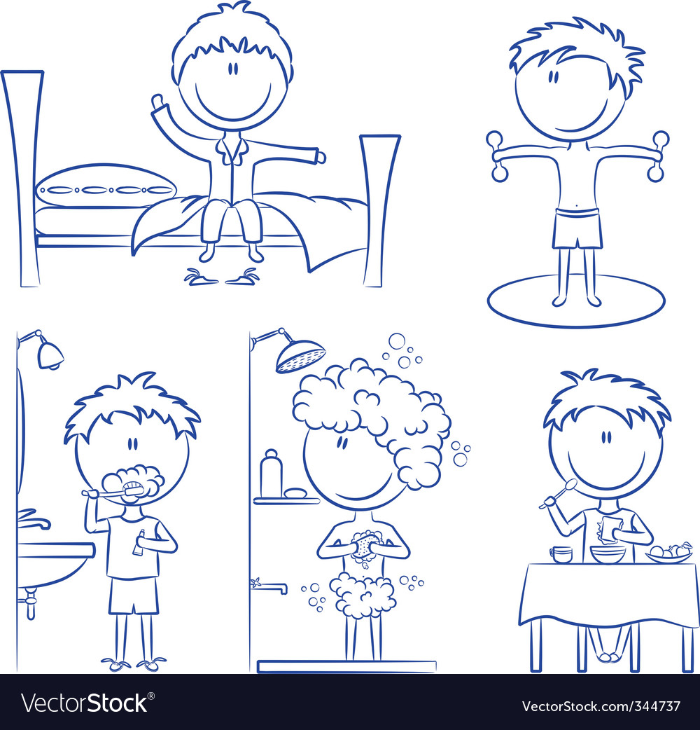 Daily morning boy's life vector | Price: 1 Credit (USD $1)
