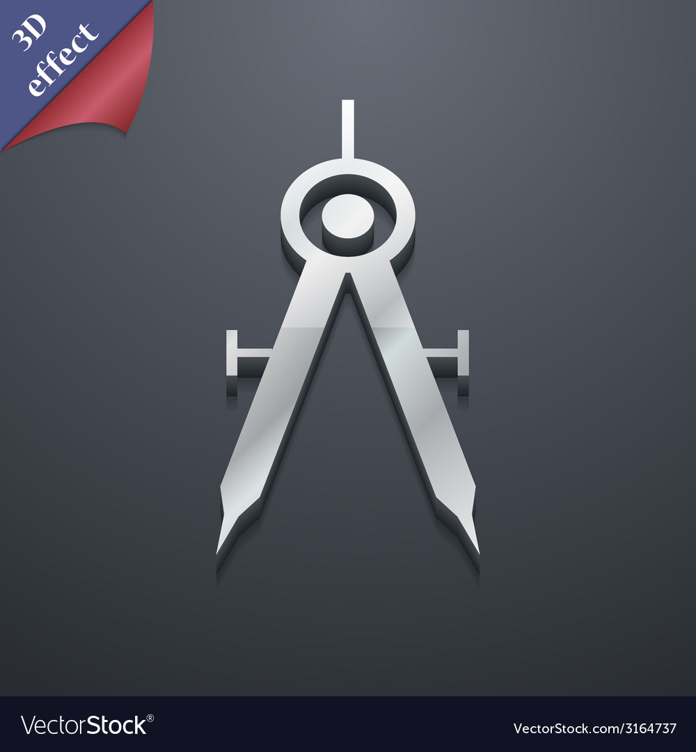 Mathematical compass icon symbol 3d style trendy vector | Price: 1 Credit (USD $1)