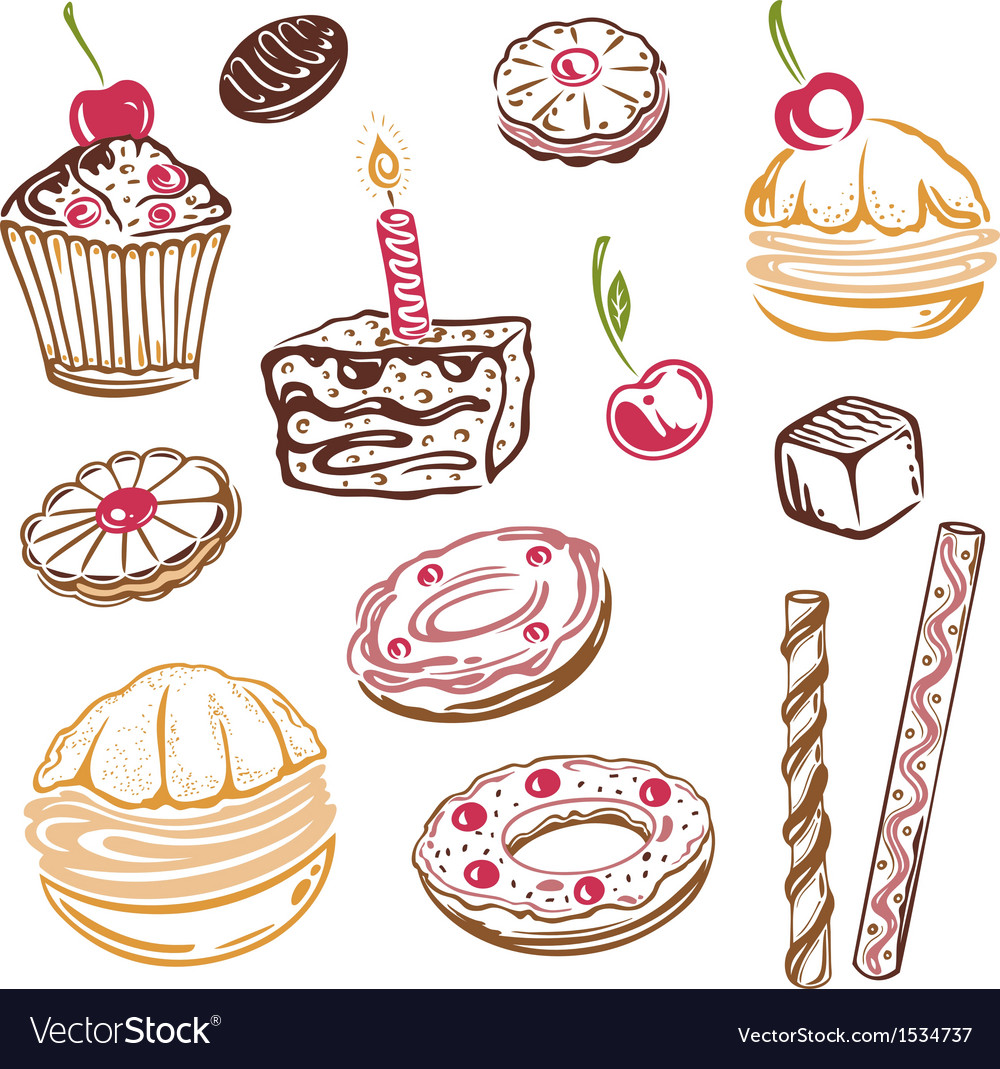Muffins donuts cakes sweets vector | Price: 1 Credit (USD $1)