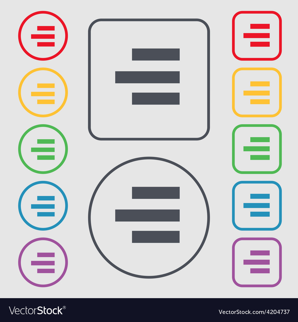 Right-aligned icon sign symbol on the round and vector | Price: 1 Credit (USD $1)