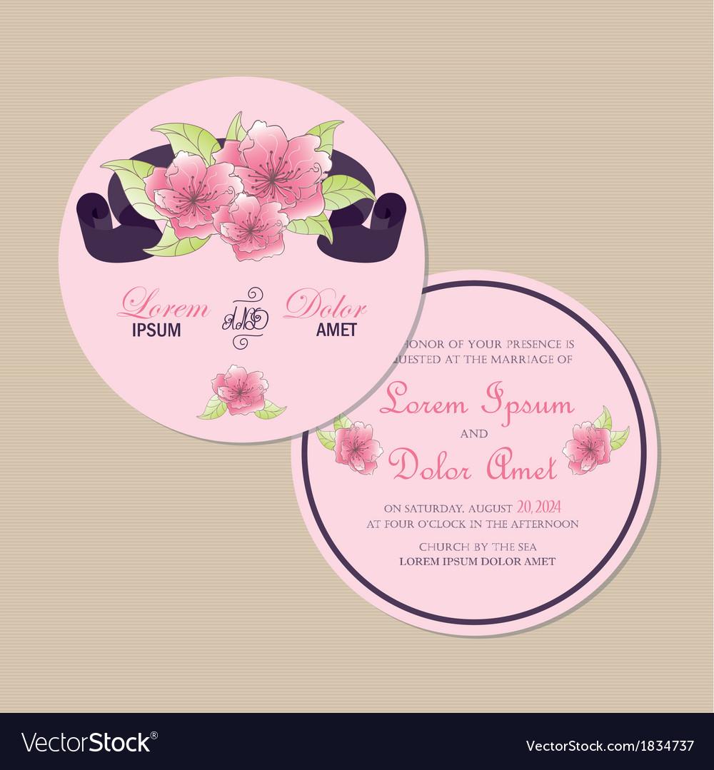 Round floral invitation card vector | Price: 1 Credit (USD $1)
