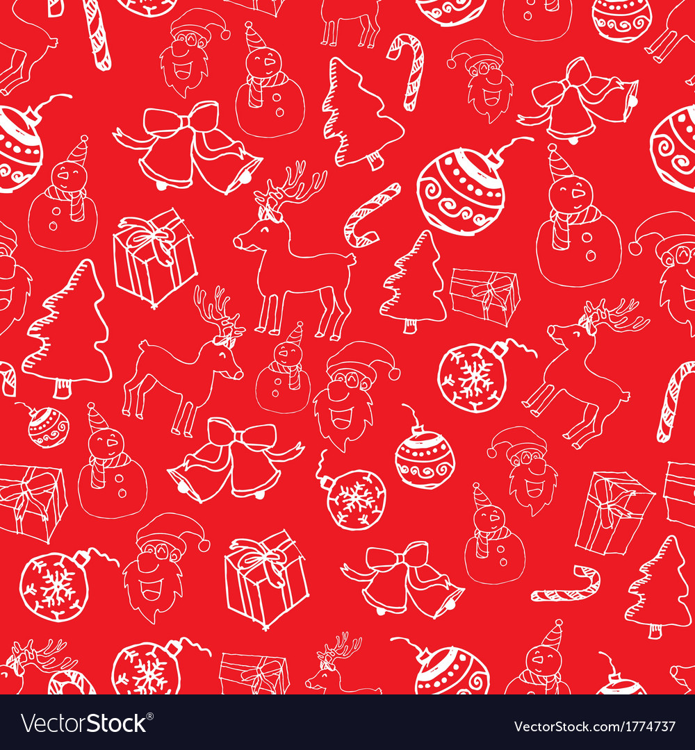 Seamless white outline christmas pattern vector | Price: 1 Credit (USD $1)