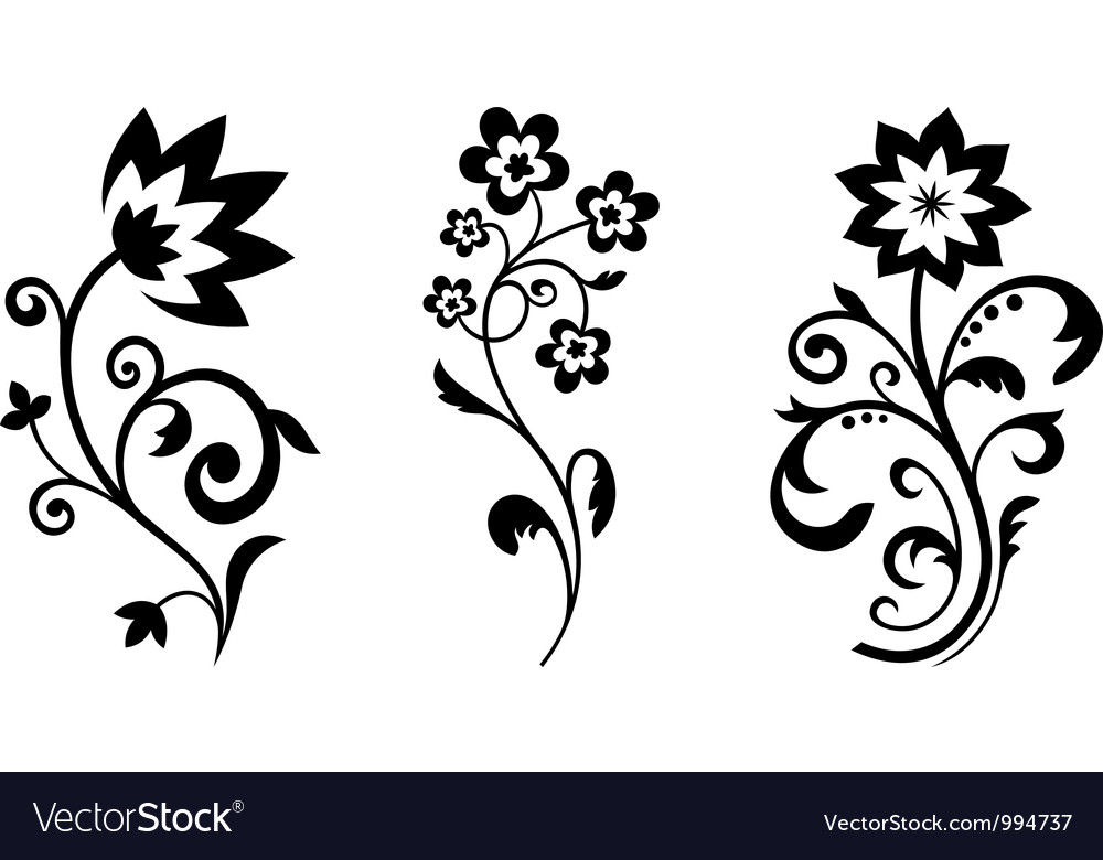 Silhouettes of abstract vintage flowers vector | Price: 1 Credit (USD $1)