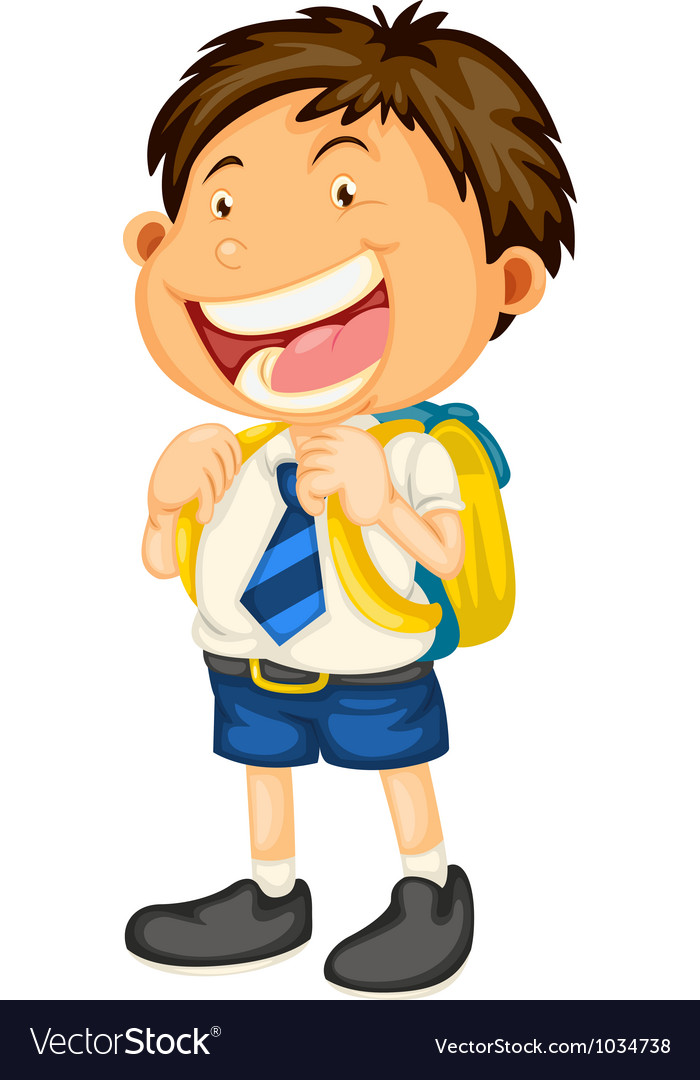 A boy going to school vector | Price: 1 Credit (USD $1)