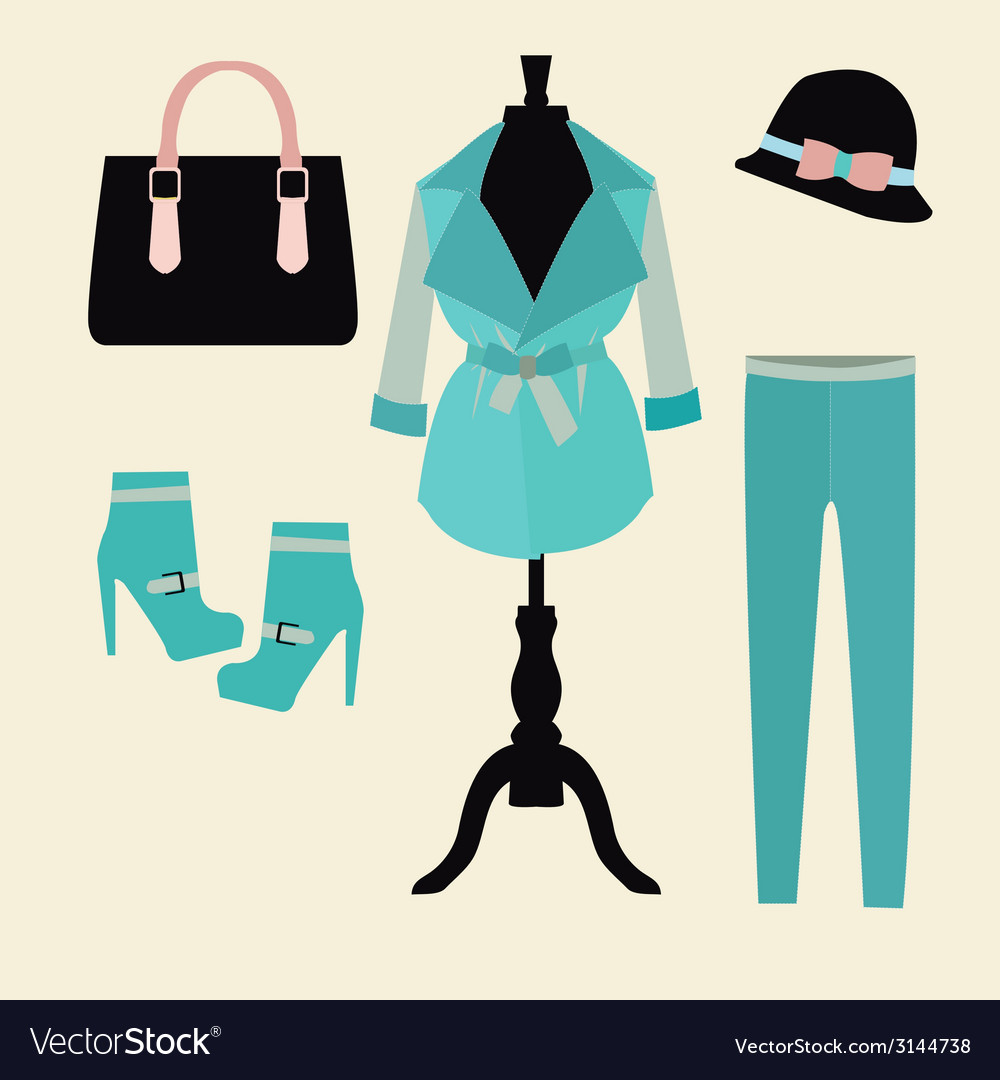 Autumn clothes shopping elements vector | Price: 1 Credit (USD $1)