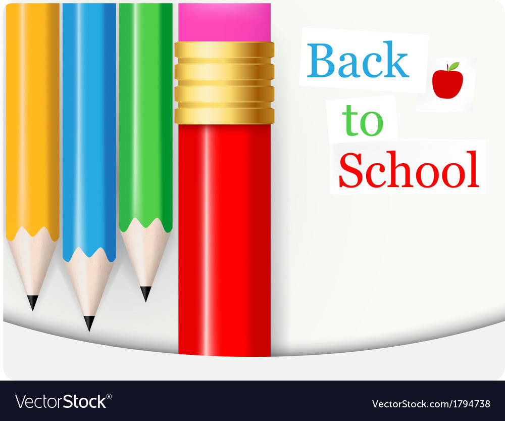 Back to school background with colorful pencil vector | Price: 1 Credit (USD $1)