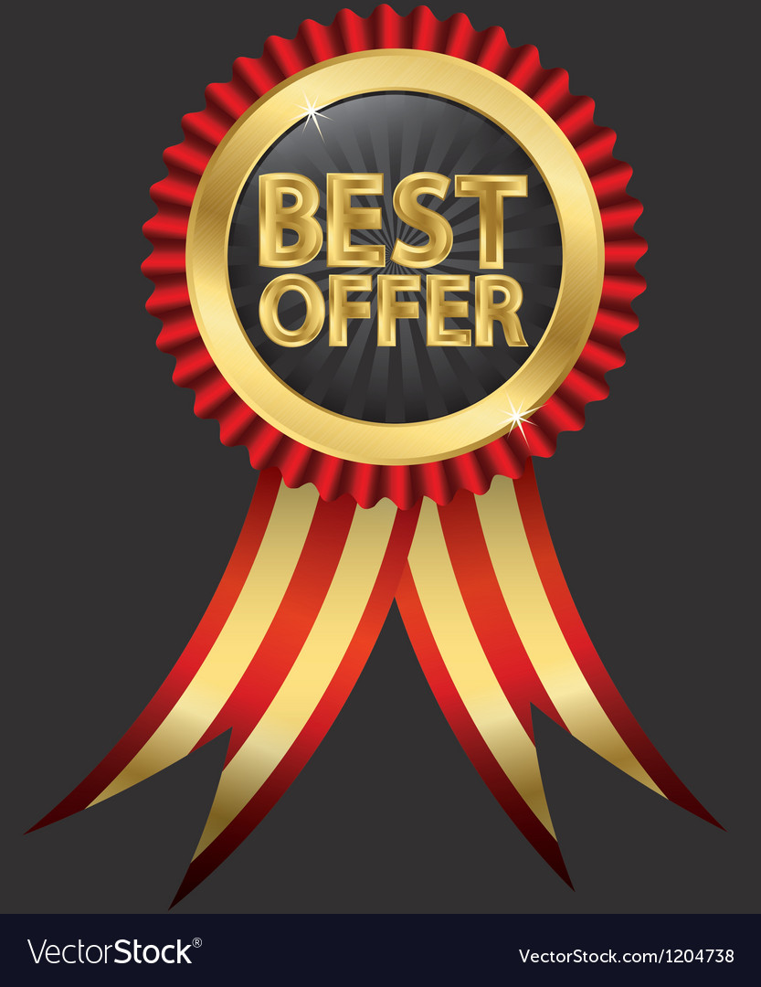 Best offer golden label with ribbon vector | Price: 1 Credit (USD $1)