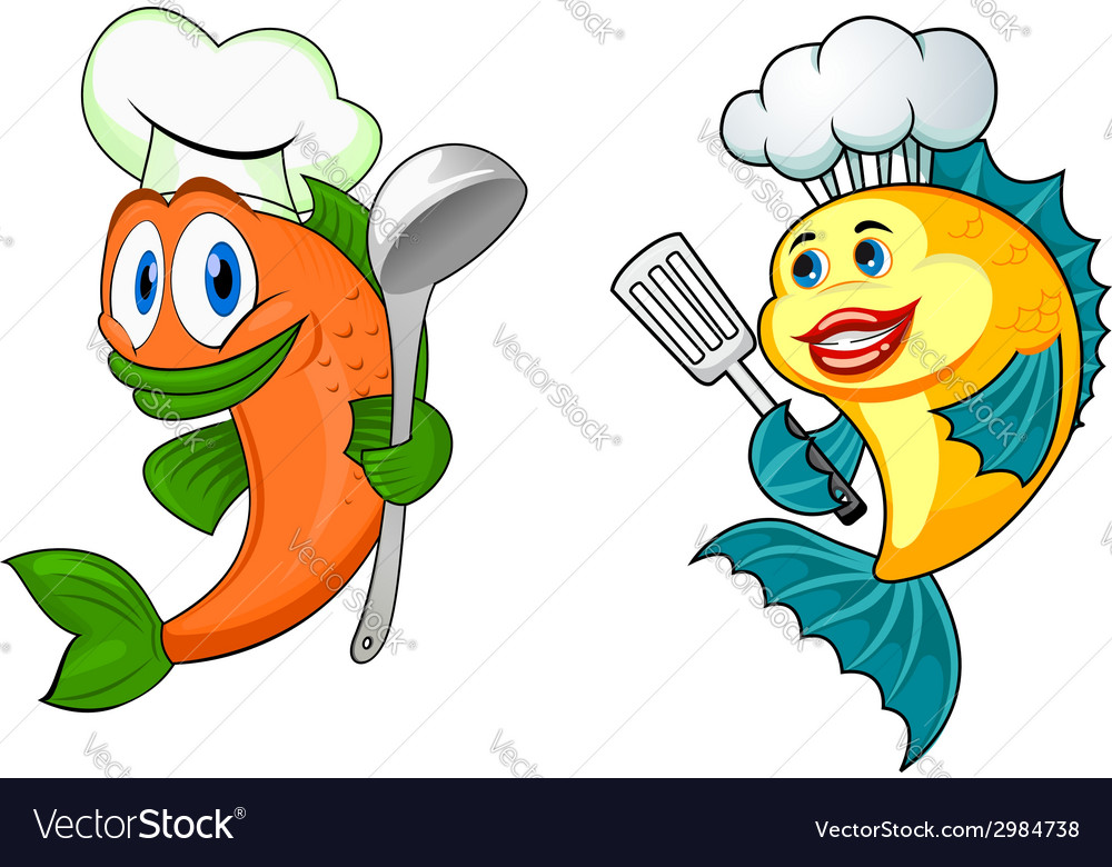 Cartoon chef fish characters vector | Price: 1 Credit (USD $1)