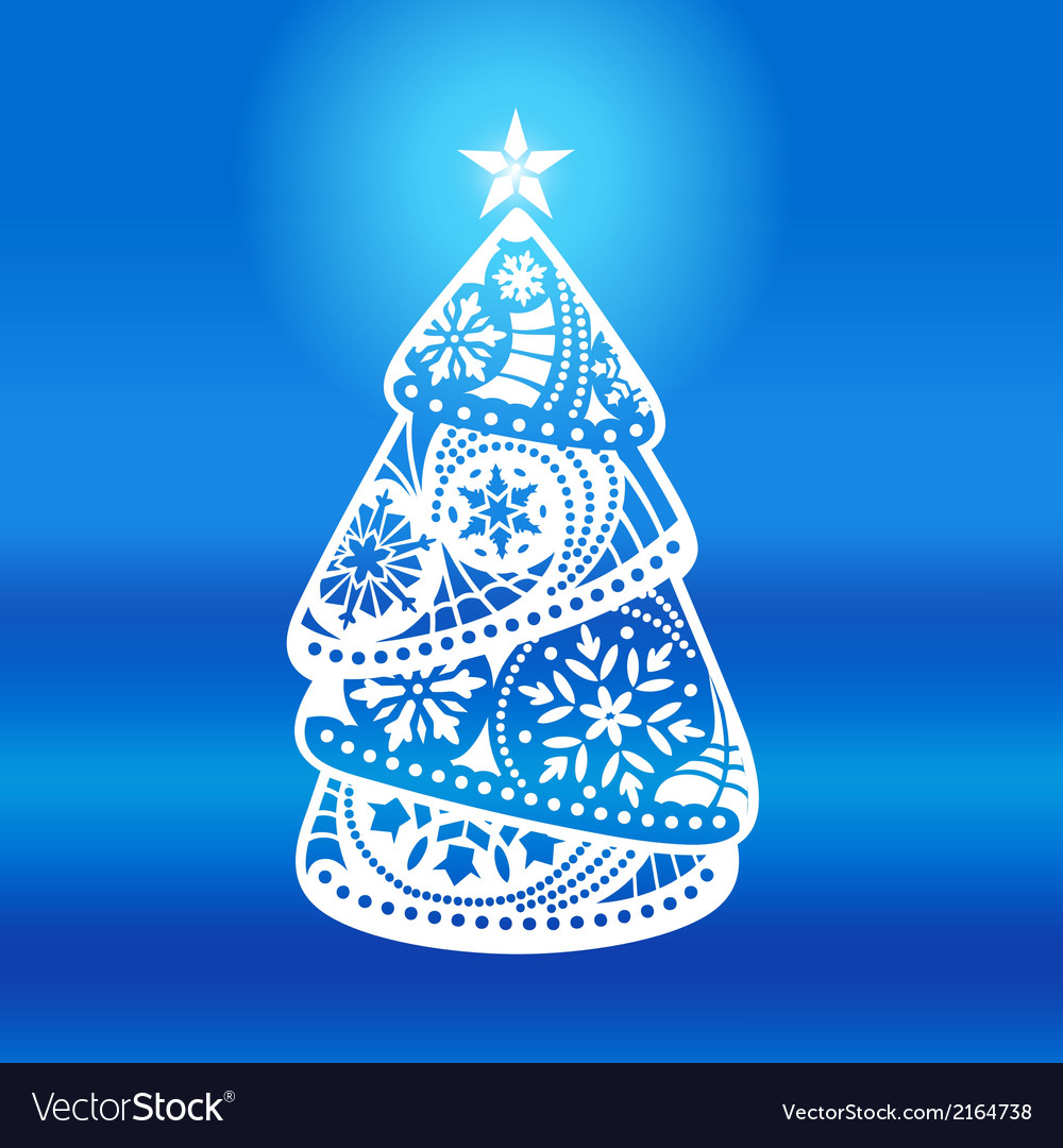 Elegant christmas tree on a blue background vector | Price: 1 Credit (USD $1)