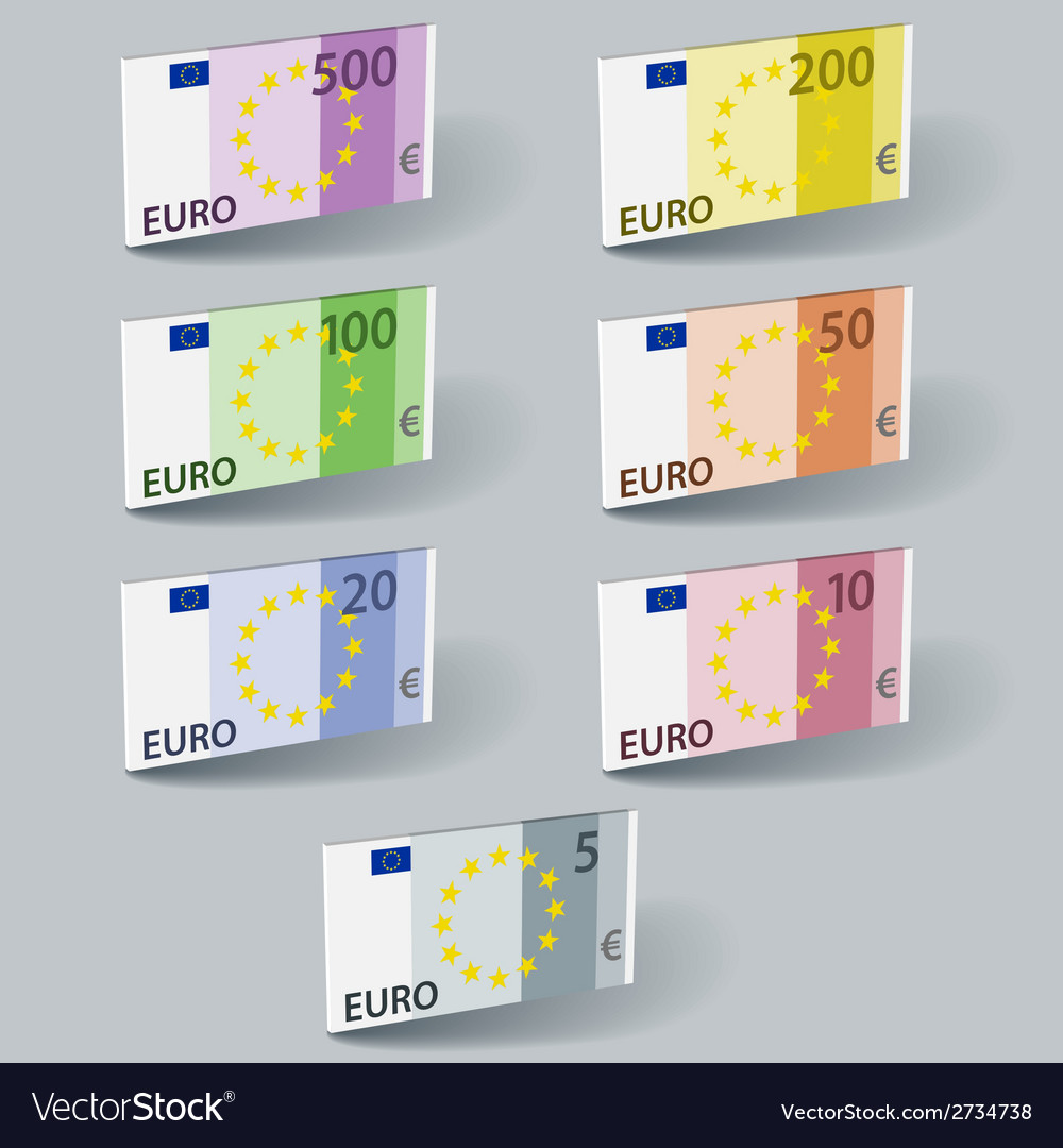 Euro paper bill banknotes with shadows vector | Price: 1 Credit (USD $1)
