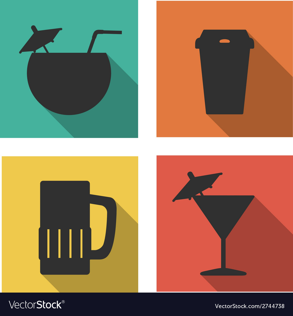Flat icons for drinks vector | Price: 1 Credit (USD $1)