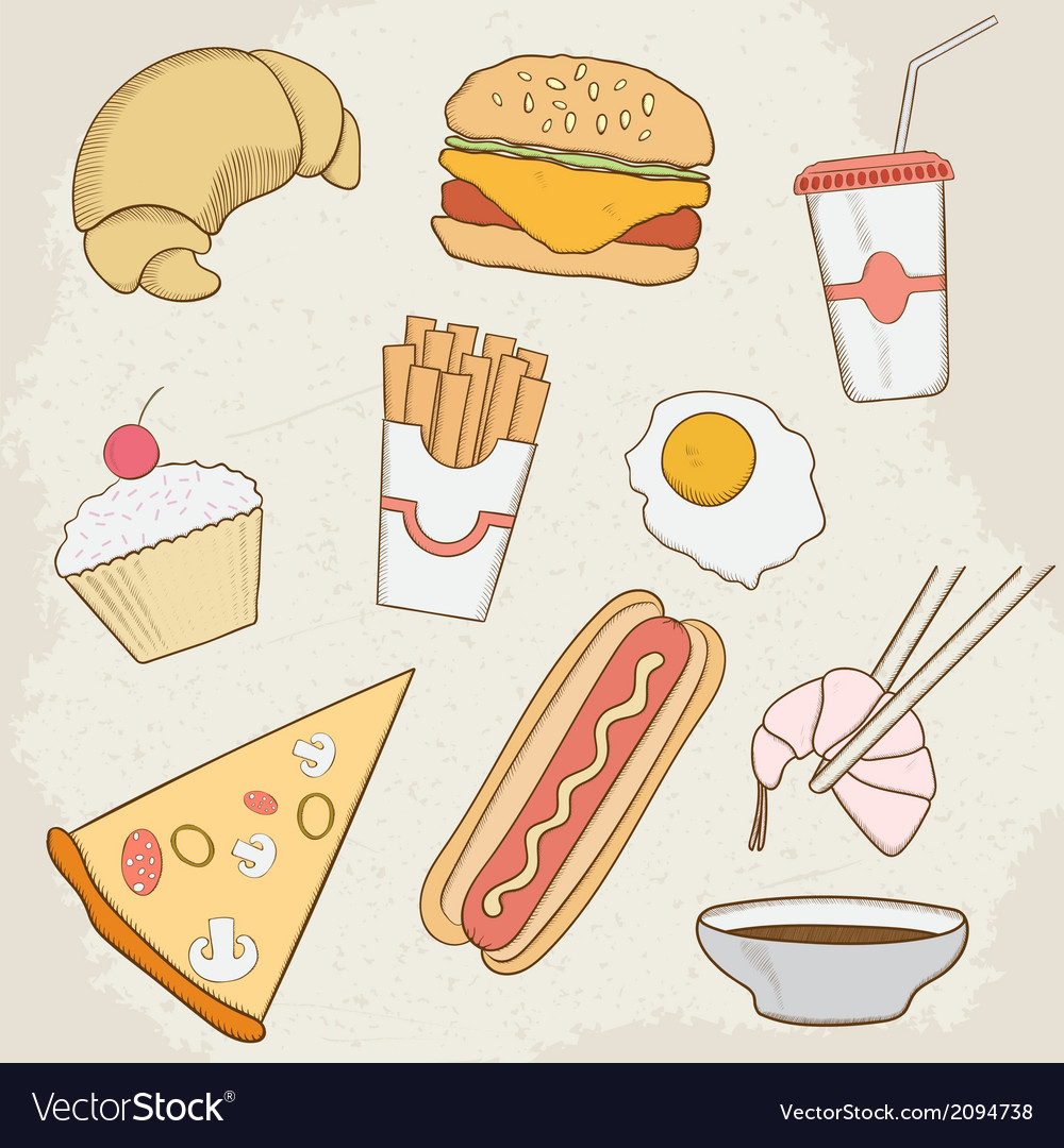 Food and drink hand drawn icons vector   Price: 1 Credit (USD $1)