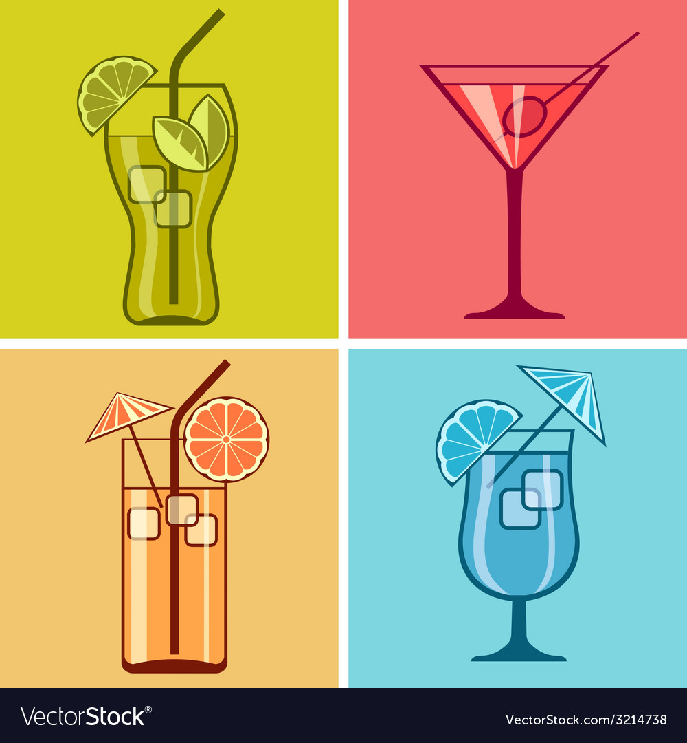 Four cocktails on color vector | Price: 1 Credit (USD $1)