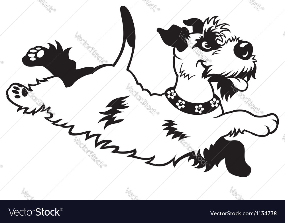 Happy dog black white vector | Price: 1 Credit (USD $1)