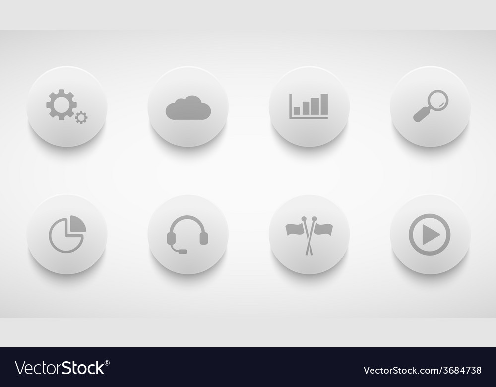 Modern technology circle icons set vector | Price: 1 Credit (USD $1)