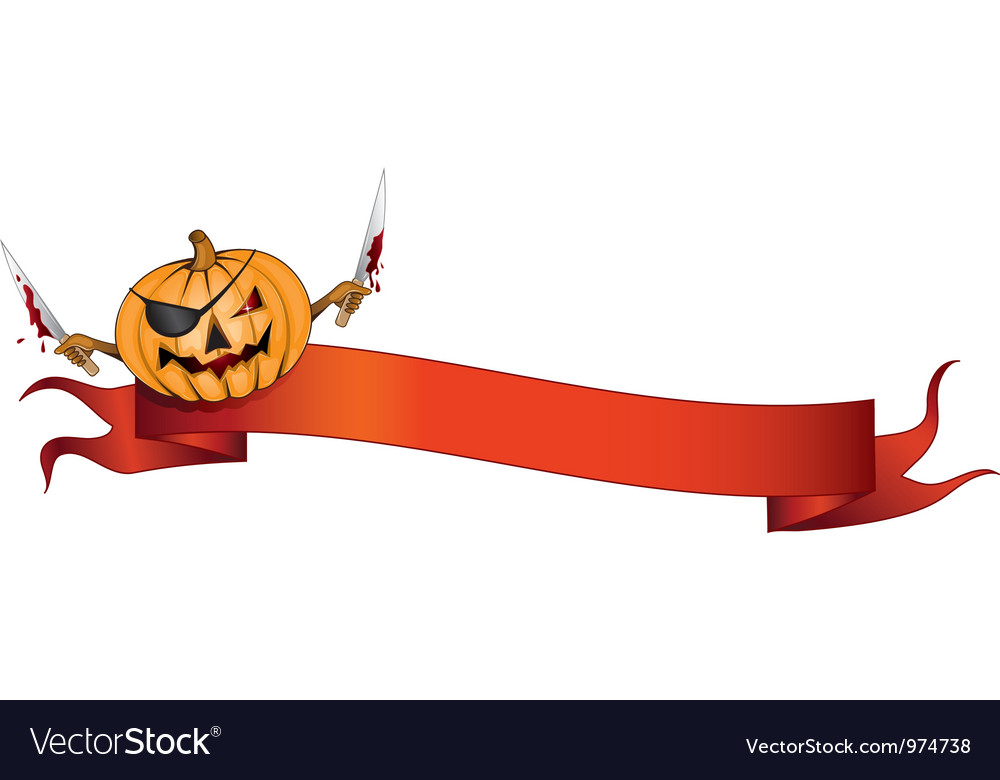 Pirate pumpkin halloween banner vector | Price: 1 Credit (USD $1)