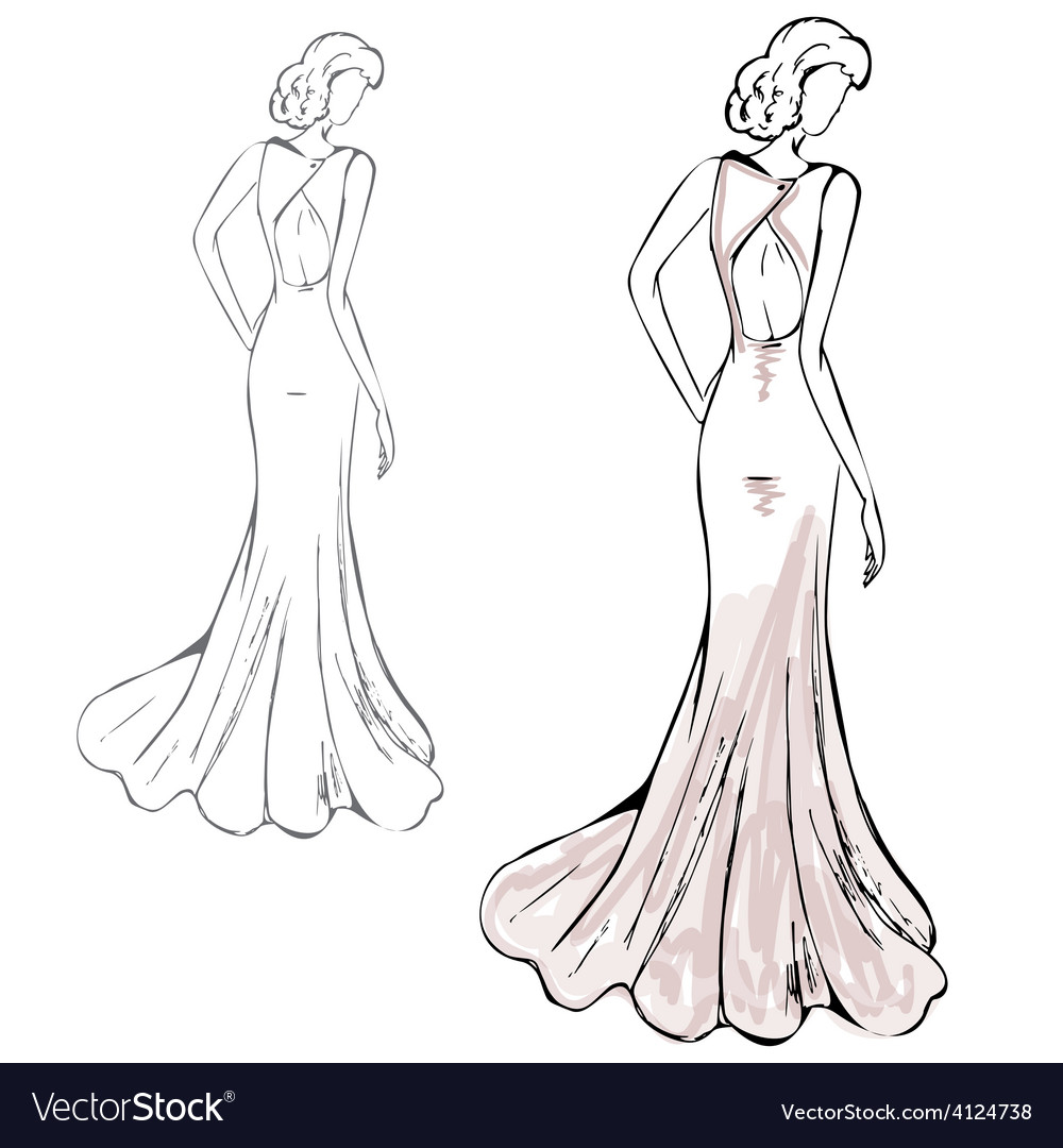Romantic girl in a fashionable dress vector | Price: 1 Credit (USD $1)