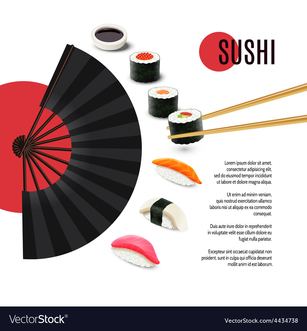Sushi poster with folding fan vector | Price: 1 Credit (USD $1)