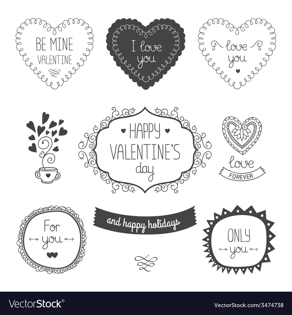 Valentines day elements vector | Price: 1 Credit (USD $1)