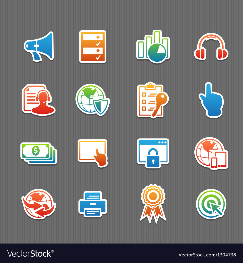 Web technology color icon set vector | Price: 1 Credit (USD $1)