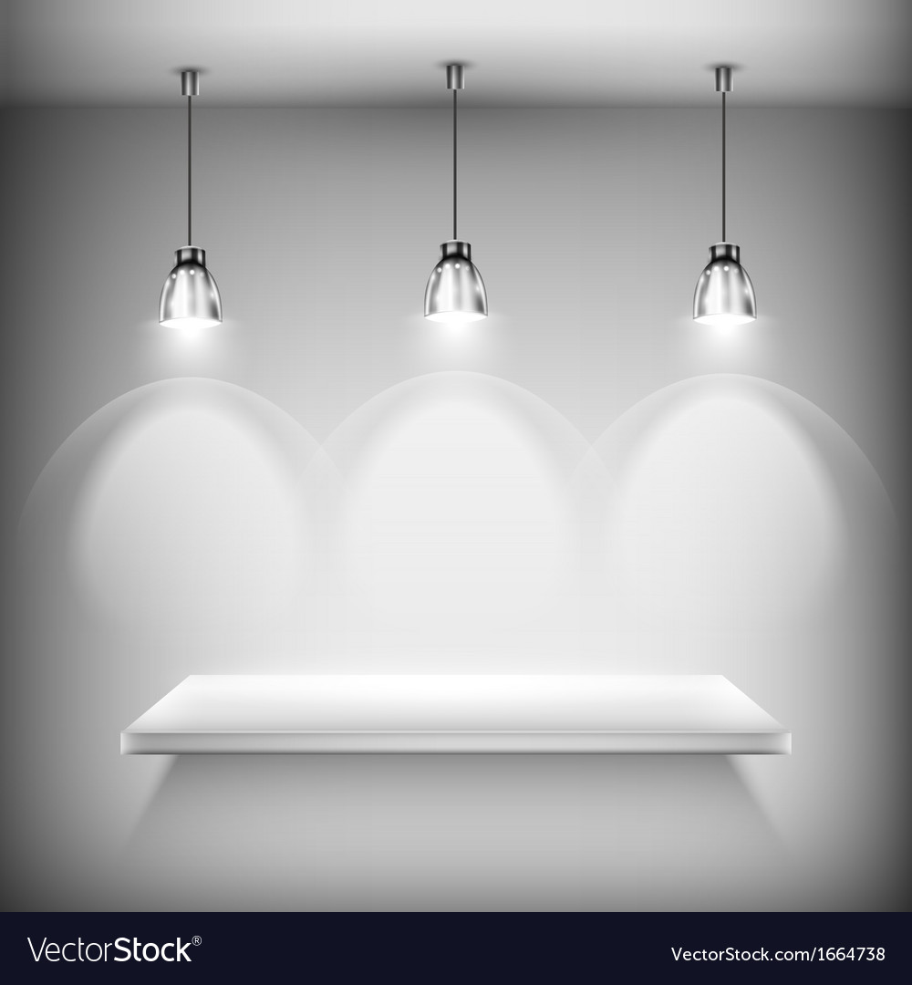 White empty shelf illuminated by spotlights vector | Price: 1 Credit (USD $1)